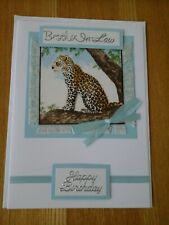 Brother-in-law Birthday card, handmade, fabric, brother-in-law, leopard