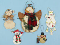 LOT of 5 SNOWMAN Christmas ORNAMENTS Resin WOOD
