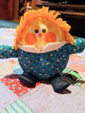 Fisher-Price vintage 1977 Humpty Dumpty plush blue rattle floral baby toy