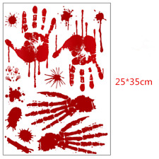 Halloween Window Stickers Decoration Scary Blood Hand Party Bloody Red Decals