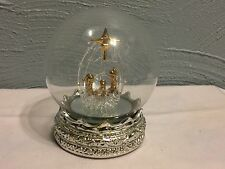 Spun Glass Nativity globe with LED Lighted Base
