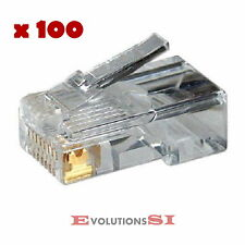 100x CONECTOR RJ45 CAT.5E RED ETHERNET PARA CRIMPADORA MAXIMA CALIDAD