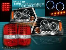 2004-2008 Ford F150 2 Halo LED Projector Headlights Black + LED Tail Lights Red