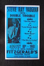 Stevie Ray Vaughn 1981 tour poster Fitzgerald's Houston