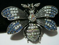 Vintage Style Beautiful Jewellery Opal Crystal AB Large Insect BEE Pin Brooch