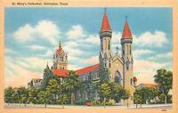 Linen Postcard B787 St Marys Cathedral Galveston Texas 1950 Cancel Bomarton