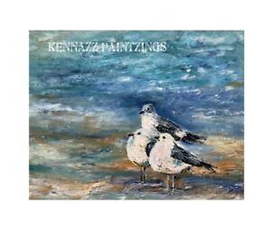 Original Painting  1 Of By Kenna Acrylic Canvas 40cm X 50cm 3 Seagulls