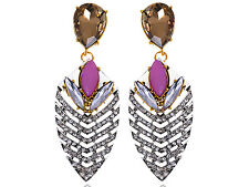 Contemporary Golden Tone Brown Pink Bead Rhinestone Accented Earrings Dangles