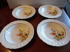 4 Vtg Old Holland USA Ware Yellow Roses Orange Poppy Floral Cereal Soup Bowls
