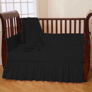 5pc Unisex Baby Bedding Set Fitted Dust Ruffle Skirt Comforter Pillowcase Bumper
