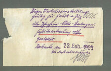 handschriftliche Billete 1923 KARLSRUHE para verkehrseinstellung (agk997)