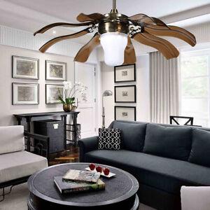 """42"""" Ceiling Fan Light Modern Folding LED Chandelier Lamp 3 Speed Change Remote"""
