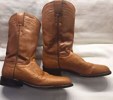 JUSTIN 6.5 B BROWN LEATHER WESTERN COWBOY BOOTS