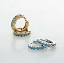 Blue Turquoise Huggie Hoop Earrings