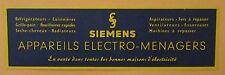 ANCIEN MARQUE PAGES SIGNET PUBLICITAIRE SIEMENS ELECTRO MENAGER RADIO TELEVISION