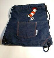 DR SEUSS Cat In The Hat Drawstring Cinch Blue Denim  Backpack Book Bag Vintage