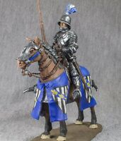 Medieval 1/32 Mounted Knight in Gothic Armor Painted Cavalry Metal Toy Soldiers