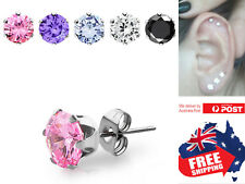Stainless Steel 16g Labrets Tragus Studs Rings with 3-5mm Prong CZ Earring 1pc