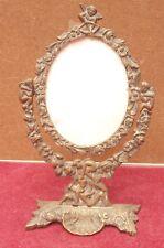 ancien magnifique cadre ou miroir en bronze angelot Cupidon et motif floral