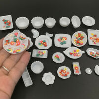 33Pcs Mini White Plastic Miniature Dollhouse Kitchen Tableware Set Model Decor