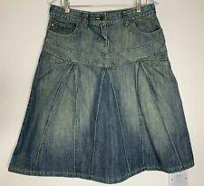 Tramontana Denim Skirt Size L W33 Blue Green Stud Midi Flared Washed
