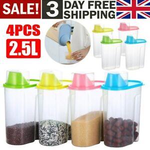 4PCS 2.5L Cereal Dispenser Dry Food Pasta Rice Storage Container Plastic Box UK