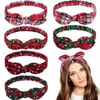 Xmas Women Headband Twist Hairband Bow Tie Christmas Headwrap Hair Band Hoop New