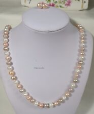 Genuine silver 7-8mm near round freshwater pearl Necklace+earing L60cm 3 colors