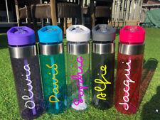 Personalised Custom Bespoke Water Bottle Flip Straw Love Gym Name Text Word