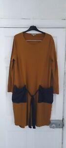 cos oversized mustard yellow jersey t shirt dress  blue pockets sz eur L 12 14
