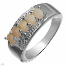 Natural Opal Topaz Birthstone Five Stone Ring Size 7 14k White Gold Over 925 SS