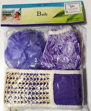 Bath Shower cap, Body Puff Wash Sponge Scrub Scrubber & Loofa Set