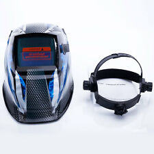 Racer Patter Solar Powered Auto-Darkening Arc Tig Mig Welding Helmet Blue US