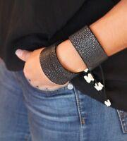 100% Genuine Shagreen Skin Cuff Bracelet Exotic Stingray Leather Adjustable