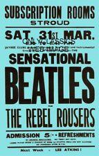 1962 Stroud Theater Abonnement Rooms Beatles Musique Affiche Avec Rebel Rousers
