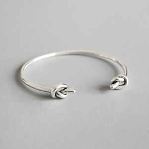 Ladies 925 Sterling Silver Knot Torque Bangle Gift UK