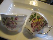 VTG Old Royal Bone China Open Sugar Bowl&CREAMER-MAGNOLIA DESIGN Made in England