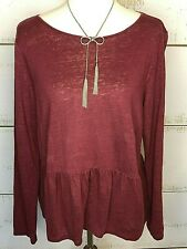 Madewell Top Size L Burgundy Baby Doll Ruffle Modest Loose Fit 017-1102.9