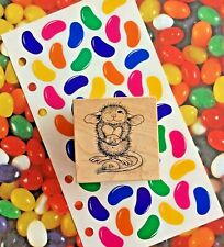 USED Easter House Mouse Wood Mounted Rubber Stamp Mudpie & Jelly Beans Stickers