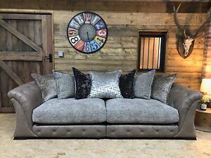 Alexander James maxi sofa brown mushroom leather velvet chenille 4 str scatter