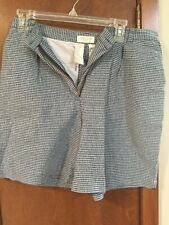 Vintage Jones New York Sport Women Sz 10 Blue Plaid Linen Pleated Front Shorts