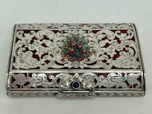 Exquisite Top Quality Guilloche Enamel Continental .800 Silver Box.