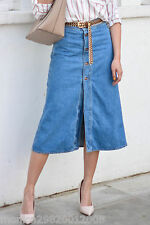 ZARA BLUE DENIM MIDI SKIRT WITH FRONT BUTTONS SIZE SMALL BLOGGERS!