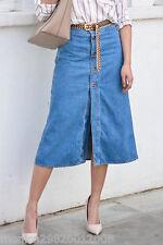 ZARA DENIM AZUL falda media pierna con parte delantera botones talla pequeña