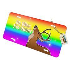 Oh Deer I'm Queer Rainbow Pride Gay Lesbian Funny Metal Vanity Tag License Plate