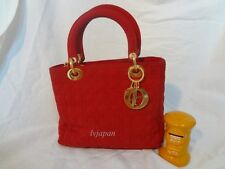 CHRISTIAN DIOR Lady Dior Red Quilted Cannage Tote Purse Bag Vtg