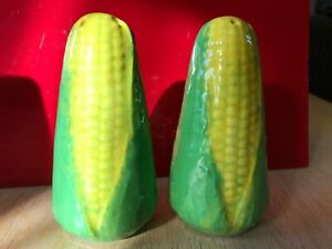 """VINTAGE LARGE SALT & PEPPER SHAKERS EAR OF CORN COBS yellow & green 4.5"""" TALL"""