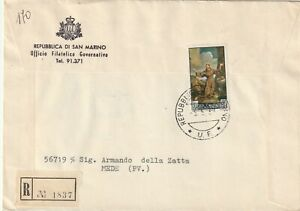 1967 San Marino registered cover sent to Mede Italy