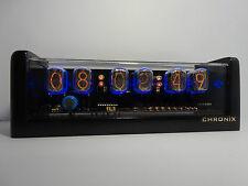 Nixie Clock with 6xIN-12 tubes & metallic black case & alarm cold war era