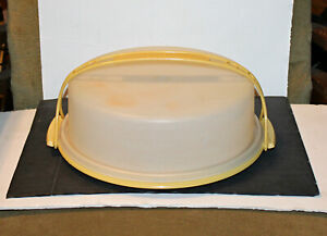 Vintage Tupperware Harvest Gold Pie Cake Keeper Carrier With Handle 719